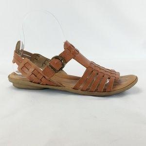 ba9e1859e8c Born 8M Brown Woven Leather Sandals